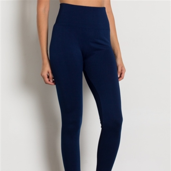af28387a5cb8ac Pants | Navy Hight Waist Fleece Leggings Nwt | Poshmark